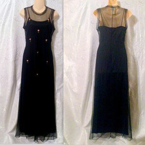 Vintage Steppin Out Long Dress w Rose Trim Overlay *